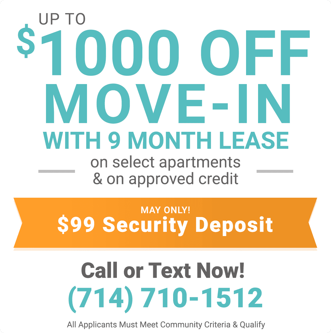 Up to $1,000 off move-in with 9 month lease